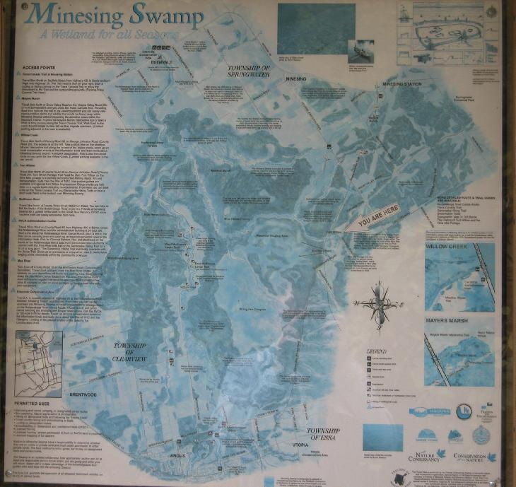 Photo from signpost of Minesing Swamp map in Ontario Canada.  Taken in 2005.
