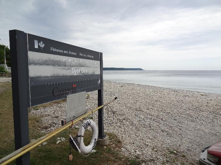 Dyer's Bay sign as published by Fisheries and Oceans of Canada'  Located on Lake Huron near Tobermory Ontario.