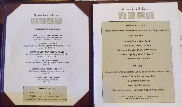 First page of the menu at the Afternoon Tea at the Fairmont Empress Hotel in Victoria British Columbia.