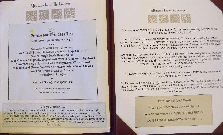 Third page of the menu at the Afternoon Tea at the Fairmont Empress Hotel in Victoria British Columbia.