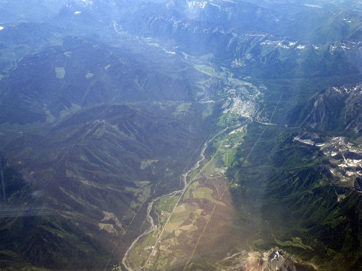View of Fernie and Elk Valley from airplane, while flying over British Columbia.
