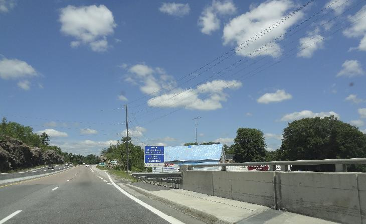 Gravenhurst Population Sign travelling along Highway 11 North as you cross the Severn River.