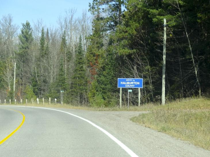Photo of Haliburton County boundary limits sin while driving north along County Road 507.  Located in Ontario Canada.