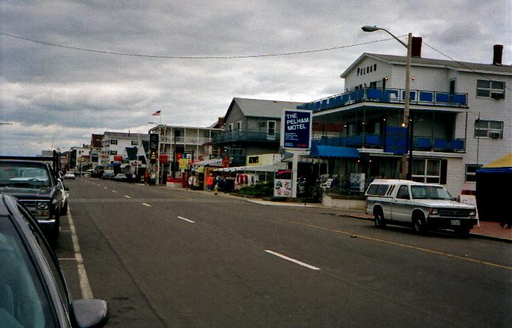 A view of Ocean Blvd in Hampton Beach in 1994.  The Pelham Hotel is in view at the right of the photo.  Scanned from negative.
