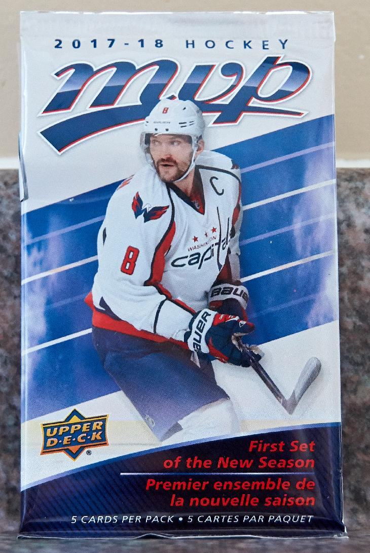 This is the main version of the Upper Deck MVP 2017-208 card wrapper. The package cover pictures Alexander Ovechkin from the Washington Capitals.