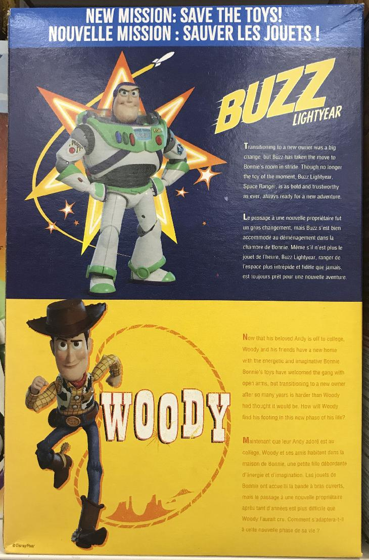The back of cereal box of General Mills Honey Nut Cherios, with an impression of Buzz Lightyear from Toy Story 4.  The box also had a saying, We're Back.