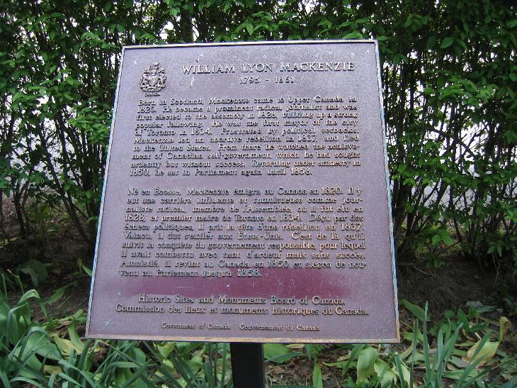 Plaque located at Mackenzie House, the last home of Wailliam Lyon Mackenzie.