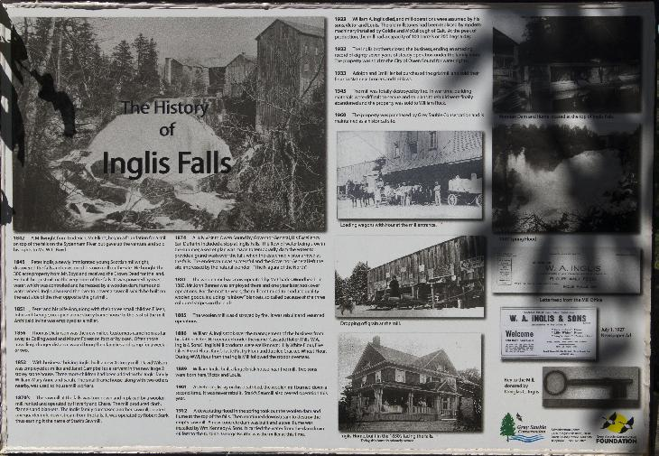 Photo of a posting at the Inglis Falls Conservation Area.  Shows the history from 1842 to 1960.  Located near Owen Sound Ontario.