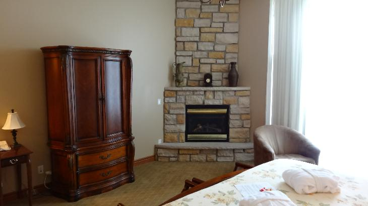 Interior Room 136 at the Inn at Christie's Mill fireplace.  Located in Port Severn Ontario.