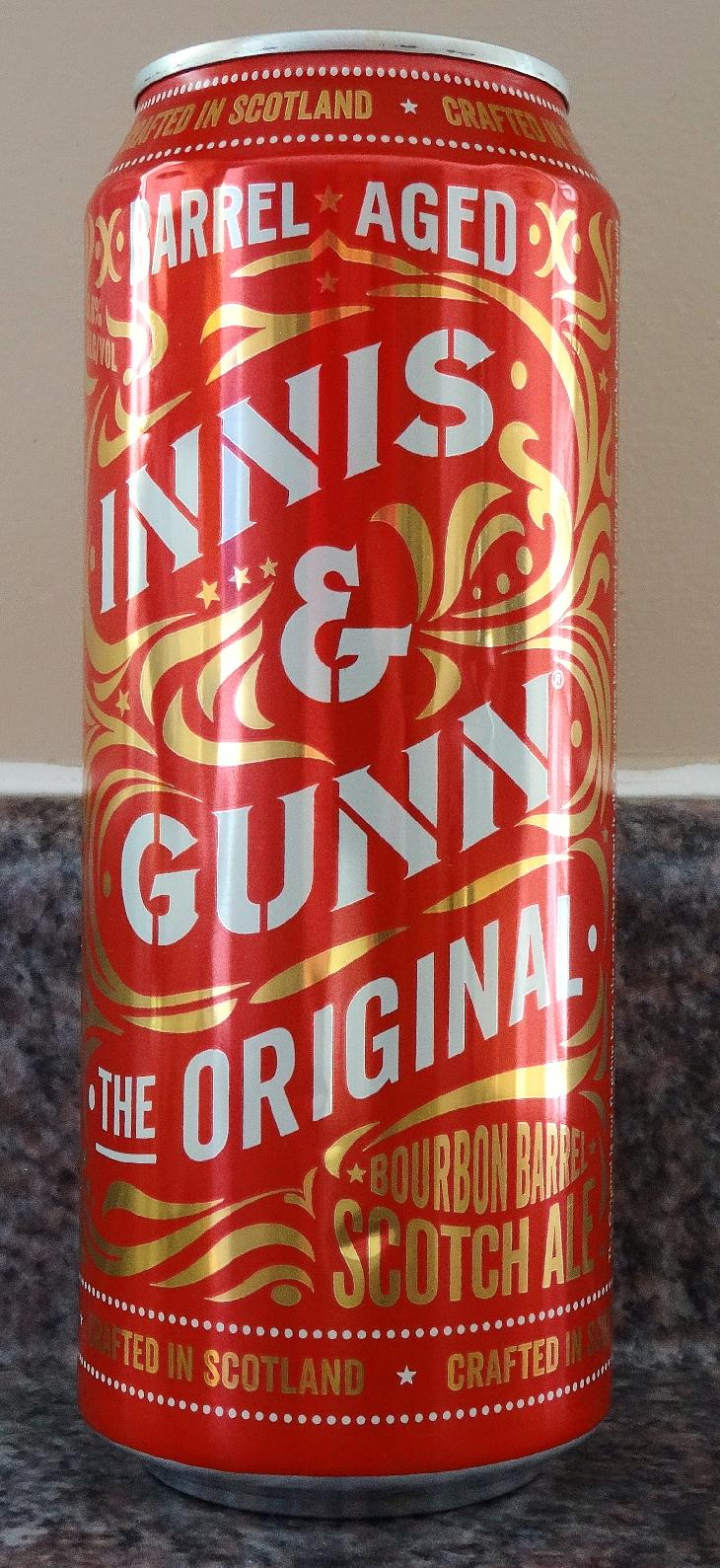 Photo of an Innis and Gunn beer can. This is the original Innis and Gunn beer. The can says that the beer is Bourbon Barrel Scotch Ale.
