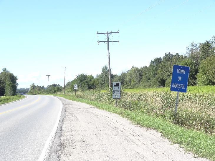Town of Innisfil boundary sign. Taken along 10 sideroad heading north from Bradford.