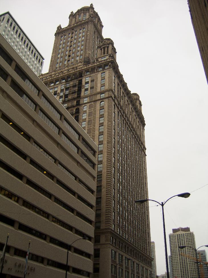 The Jewelers' Building in Chicago.  Located at 35 East Wacker Drive. It was once considered to be the tallest building outside of New York City. Formerly the Pure Oil Building and North American Life Insurance Building.