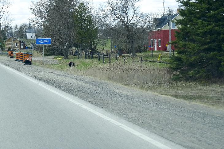 The town limits sign for Keldon Ontario.  Keldon is located in Southgate Township, which is on Grey County.
