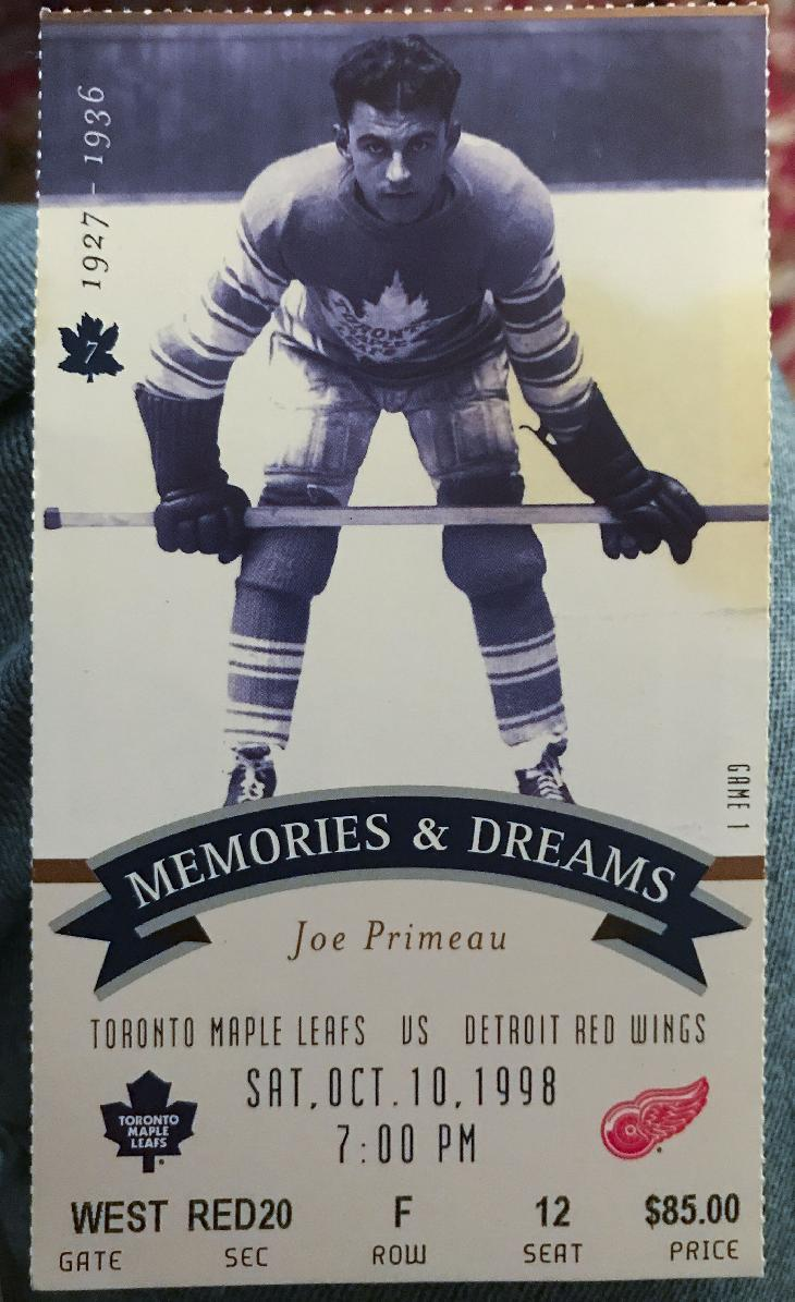 Photo of a Toronto Maple Leafs hockey ticket.  The game was in Maple Leafs Gardens at October 10, 1998.  The final season in Maple Leaf Gardens.  Pictured on the ticket is Joe Primeau.