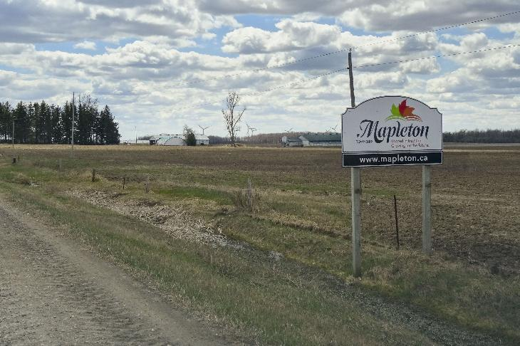 The Mapleton Township limits sign, travelling southwest on Concession Road 12.  Located in southern Ontario Canada.