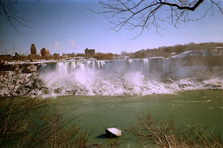 Taken in January 1995.  The falls were not frozen over at this point.  Scanned from negative.
