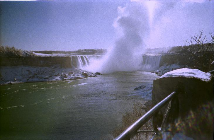 Niagara Falls in January 1995.  This is the Canadian side of the falls.  Image is a scan from a negative.
