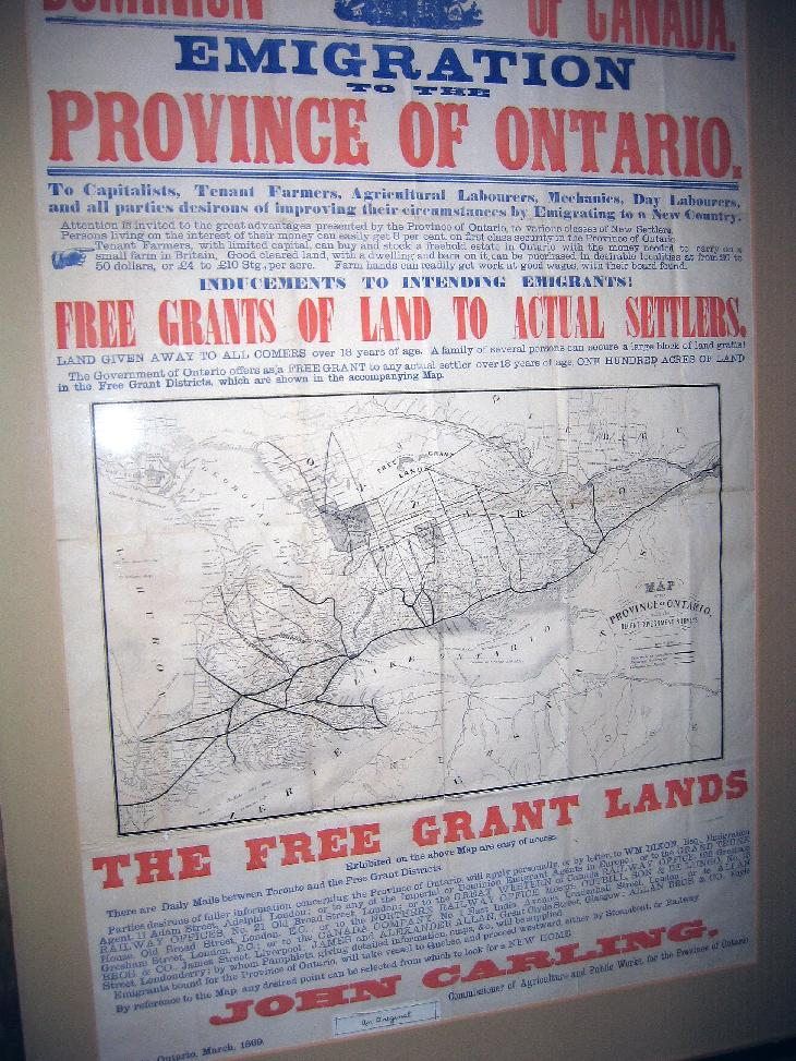 An emigration offering from the province of Ontario in 1869.  Offering free land to settlers.