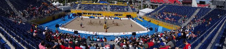 A panoramic view of the Chevrolet Beach Volleyball Centre.  Which was the main venue at the 2015 Toronto Pan Am Games.  This site was temporarily setup at the Exhibition Place in Toronto