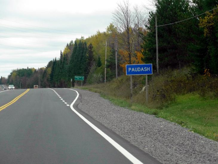Sign is found heading west on Highway 28.  The community of Paudash is near Paudash Lake.  Located in the township of Faraday in the County of Hastings.