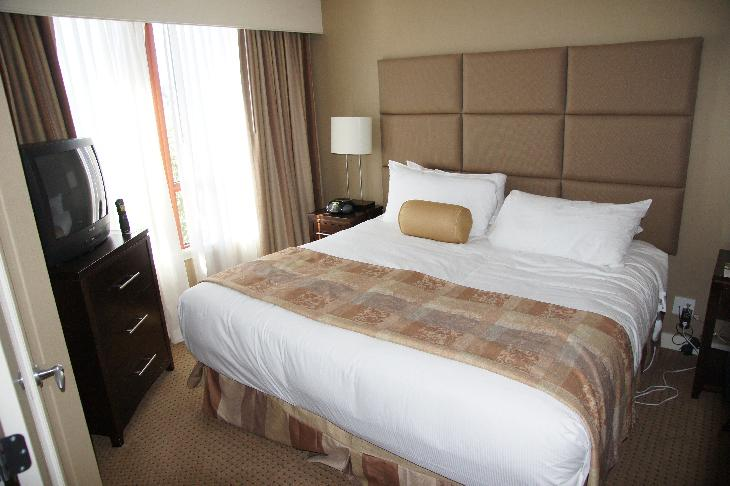 View of king bedroom in the king suite of the River Rock Casino Resort in Vancouver.