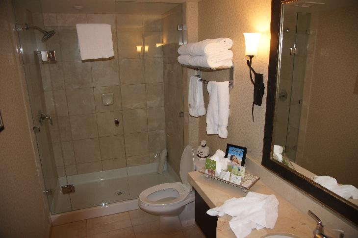 This is the view of the bathroom in a king suite in the River Rock Casino.  Has stand in shower.