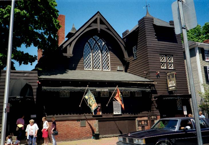 Entrance to Salem Witch Dungeon Museum, taken in May 1994.  Digitized from negative.