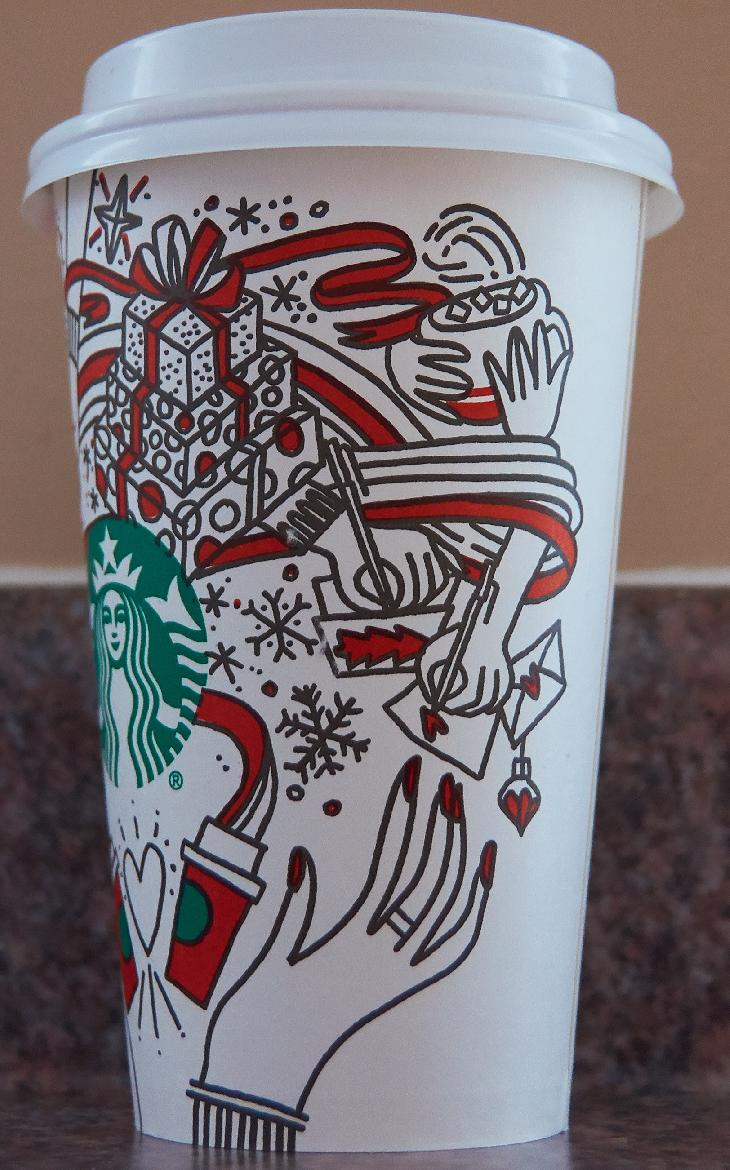 The right side of the starbucks medium coffee cup celebrating Christmas in 2017. Purchased in Ontario.  Contains various artistic drawings of Christmas related activites.