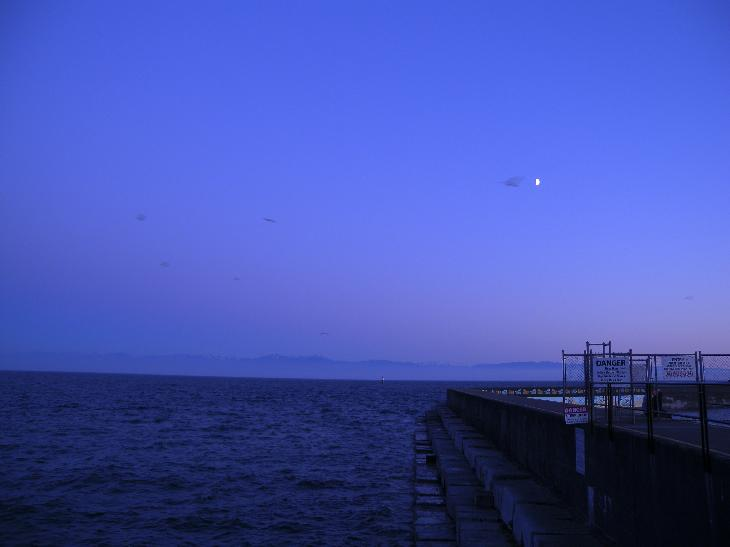 Photo take at Ogden Point Victoria British Columbia at twilight.