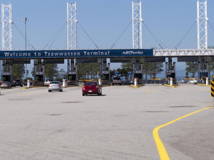 Drive up to BC Ferries Tsawwassen Terminal near Vancouver British Columbia.