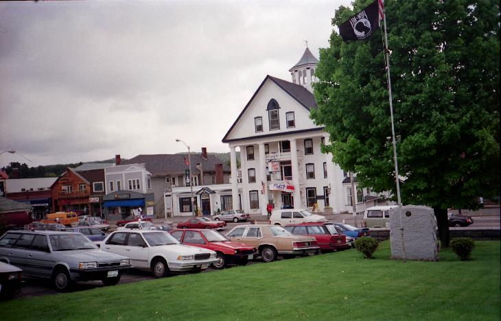 A view of the Thayers Inn hotel in Littleton New Hampshire.  Take from across the street.  Scanned from a negative.