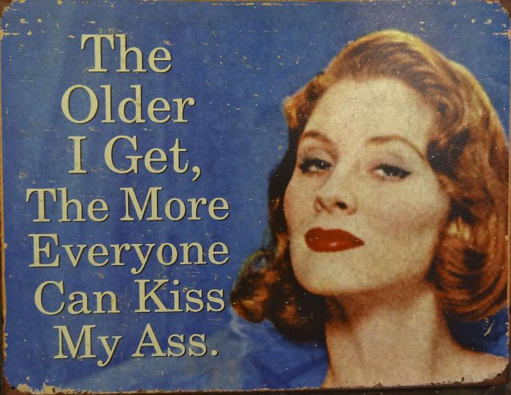 Photo of Steel Sign in Store. The Older I Get, The More Everyone Can Kiss My Ass.
