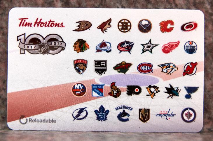 A 2017 Tim Horton's gift card. Commemorating the NHL's 100th anniversary. Depicts logos of current 2017 NHL teams, along with the National Hockey League's 100th anniversary logo.