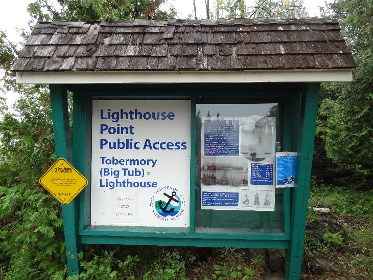 Sign posted at the public access point to Big Tub Lighthouse.  Located in Tobermory Ontario.