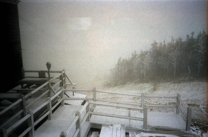 Snow falling at the end of May at the top of the tramway at Cannon Mountain in Francona Notch State Park in New Hampshire.