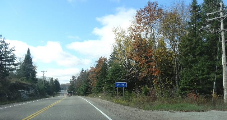 The town entrance sign for Tory Hill Ontario.  Travelling west along Highway 118.