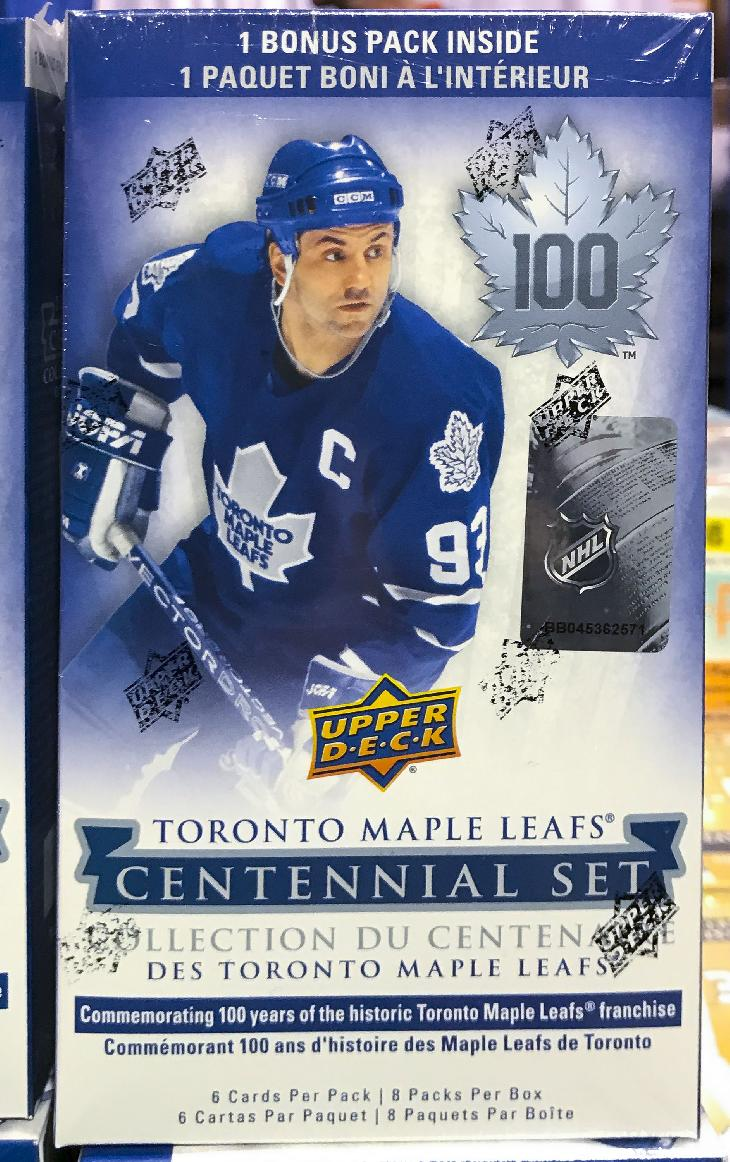 This special Hockey Card set commemorated the 100th anniversary of the Toronto Maple Leafs organization.  The cover of the box depicts Doug Gilmour, a former captain of the Leafs.