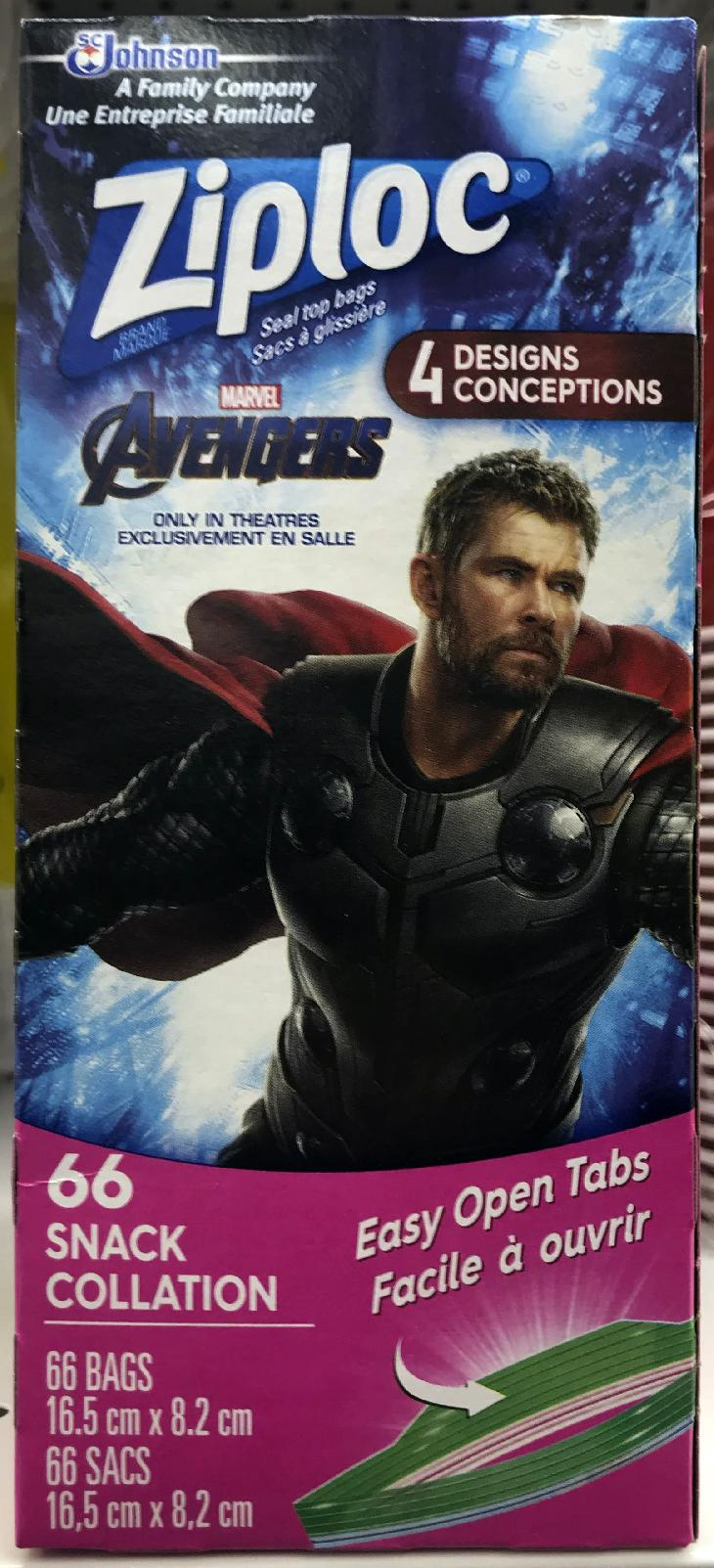 Marvel Avengers collector series. The front of the box cover for a Ziploc snack bags.  This limited edition box has an image of Thor.