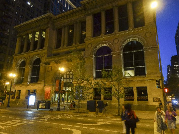 Evening photo of the Chicago Cultural Center. Is America's first free municipal cultural center.