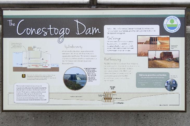 Information sign posted at the Conestoga Dam.  Located along Wellington County Road 11.   The is attached to the bridge of the dam.