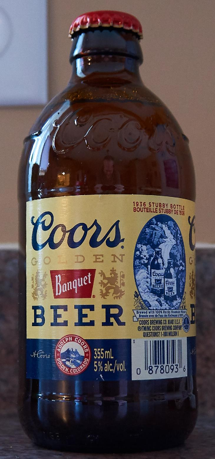 This is the 2017 edition of the 1936 Coors Banquet Stubby.  Released during the years of Canada's 150th birthday. Includes a caption: Brewed with 100% Rocky Mountain Water.