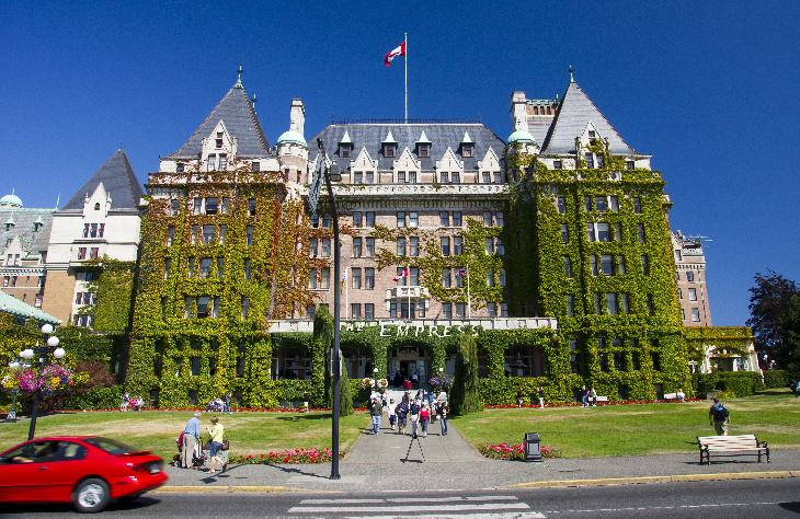 View of the Fairmont Empress Hotel in Victoria British Columbia, as seen from the street in from of the hotel.