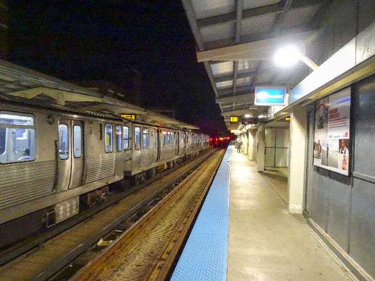 Evening shot at Fullerton is an 'L' station on the Chicago Transit Authority's Brown and Red Lines.