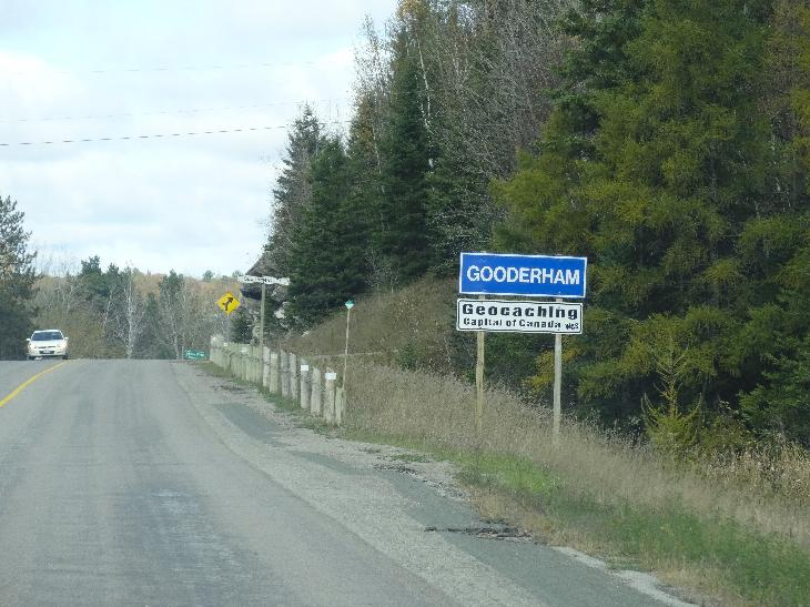 Gooderham town sign ,travelling north on County Road 507.  Gooderham is located in the township of Highlands East which is in Haliburton County, Ontario.