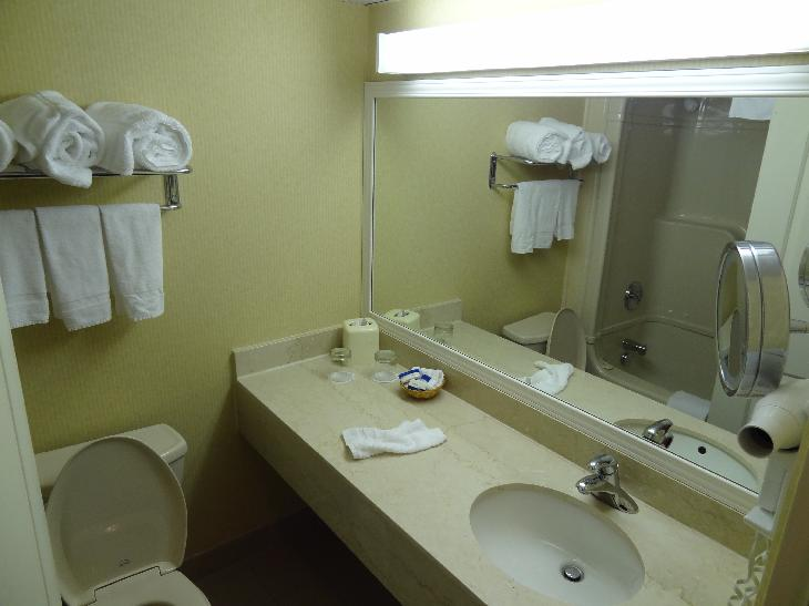View of bathroom in rented room at the Hidden Valley Resort in Huntsville.  This room is on the second floor in the main building, facing the parking lot.