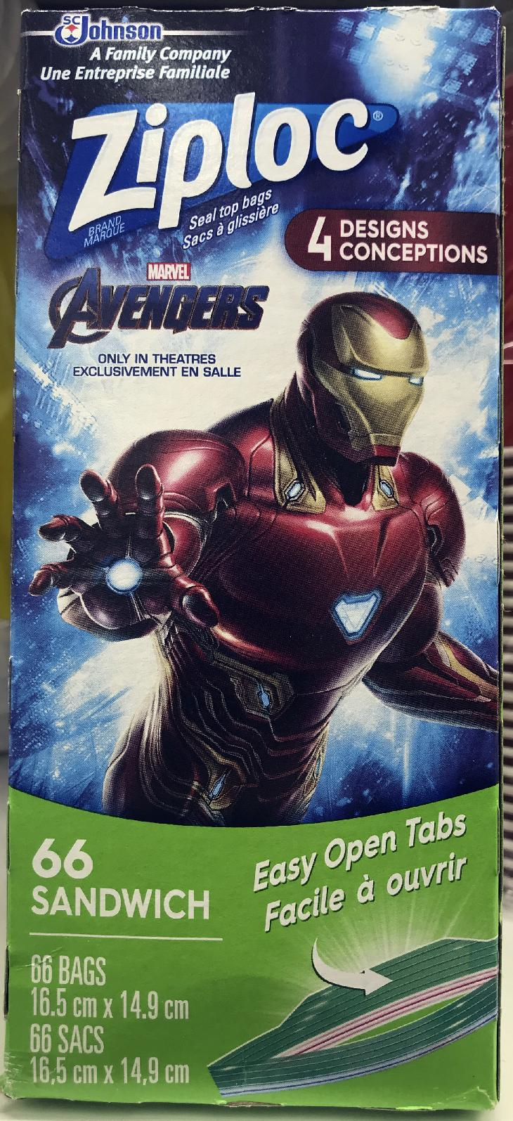 Marvel Avengers collector series. The front of the box cover for a Ziploc snack bags.  This limited edition box has an image of Iron Man.