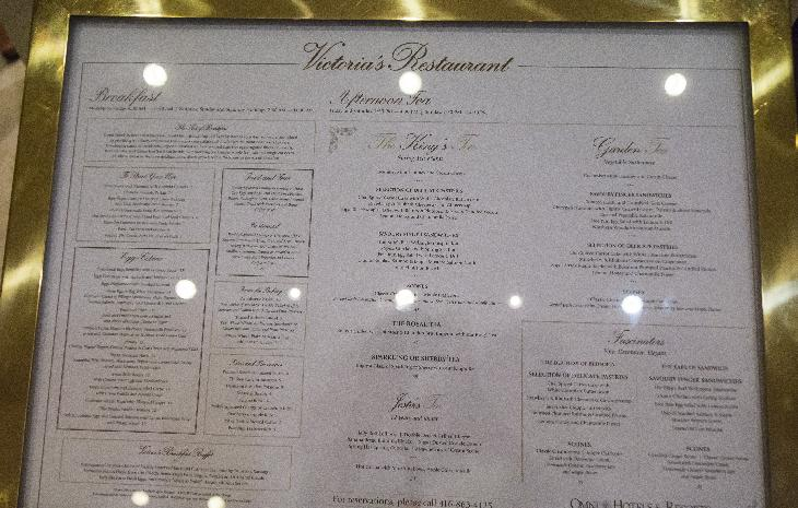 Photo of the Sunday breakfast and tea, at the King Edward Hotel in Toronto Ontario Canada.  This menu is specifically for May 29, 2016.  Choose higher resolution image to view details.