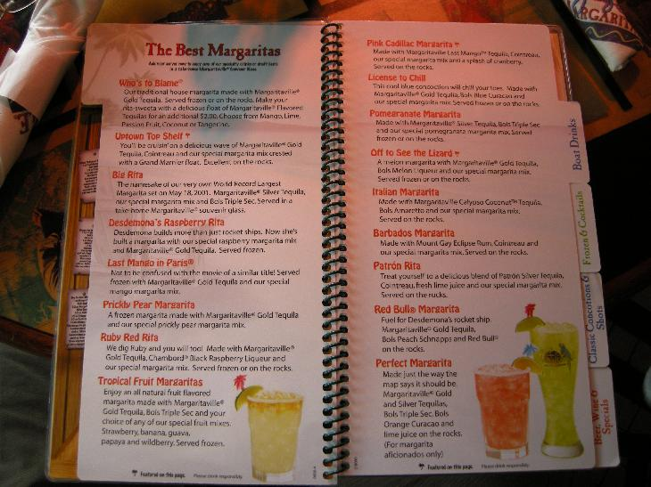 Photo of Margarita Menu at Jimmy Buffet's Margaritaville restaurant in Key West Florida.  Some include Big Rita, Last Mango In Paris and Off To See the Lizard.