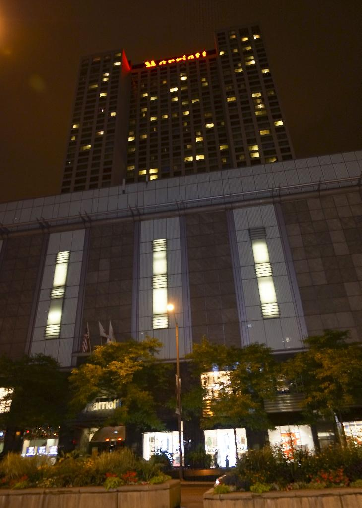 Night view of the front face of Chicago Marriott Downtown Magnificent Mile from Michigan Avenue.
