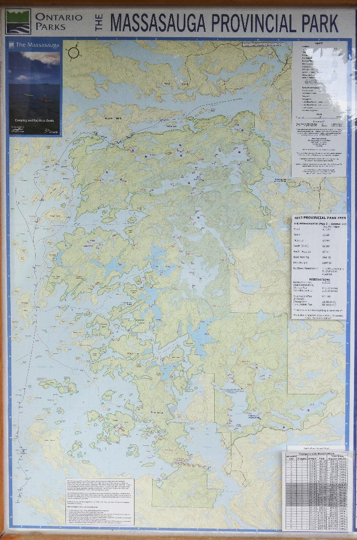 The 2013 Ontario Parks version of the Massasauga Provincial Park map.  Taken at a pavilion in Oastler Lake Provincial Park.